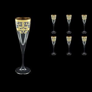 Fusion CFL F0023 Champagne Flutes 170ml 6pcs in Natalia Golden Blue Decor (F0023-0110)
