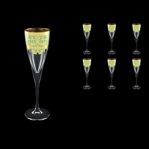 Fusion CFL F002T Champagne Flutes 170ml 6pcs in Natalia Golden Turquoise D. (F002T-0110)
