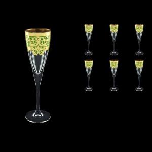 Fusion CFL F0024 Champagne Flutes 170ml 6pcs in Natalia Golden Green Decor (F0024-0110)