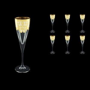 Fusion CFL F0021 Champagne Flutes 170ml 6pcs in Natalia Golden White Decor (F0021-0110)
