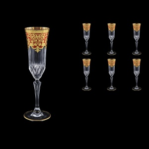 Adagio CFL F0022 Champagne Flutes 180ml 6pcs in Natalia Golden Red Decor (F0022-0410)