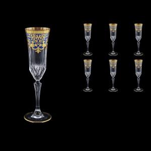 Adagio CFL F0023 Champagne Flutes 180ml 6pcs in Natalia Golden Blue Decor (F0023-0410)