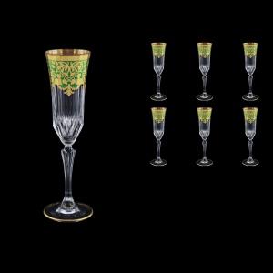 Adagio CFL F0024 Champagne Flutes 180ml 6pcs in Natalia Golden Green Decor (F0024-0410)