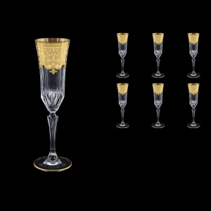 Adagio CFL F0025 Champagne Flutes 180ml 6pcs in Natalia Golden Ivory Decor (F0025-0410)