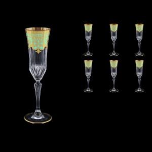 Adagio CFL F002T Champagne Flutes 180ml 6pcs in Natalia Golden Turquoise D.  (F002T-0410)