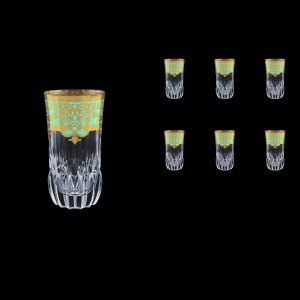 Adagio B0 F002T Water Glasses 400ml 6pcs in Natalia Golden Turquoise Decor (F002T-0400)
