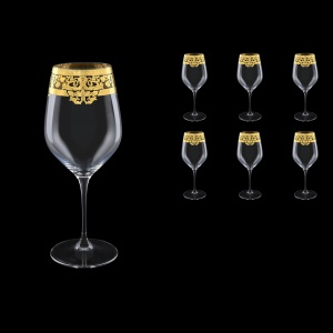 Supreme CWX F0020 Bordeaux Glass 810ml, 6pcs in Natalia Golden Crystal Decor (F0020-4016)