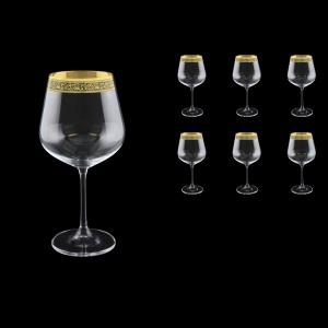 Strix CWR SMGB Red Wine Glasses in Lilit Golden Black Decor, 600ml, 6pcs (31-2216)