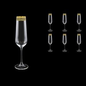Strix CFL SMGB Champagne Flute in Lilit Golden Black Decor, 200ml, 6pcs (31-2210)