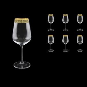 Strix C2 SMGB Red Wine Glasses in Lilit Golden Black Decor, 450ml, 6pcs (31-2212)