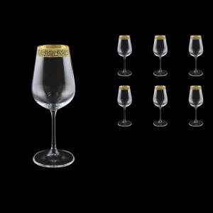 Strix C3 SMGB White Wine Glasses in Lilit Golden Black Decor,360ml, 6pcs (31-2213)