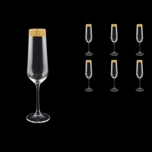 Strix CFL SNGC Champagne Flute in Romance Golden Classic Decor, 200ml, 6pcs (33-2210)