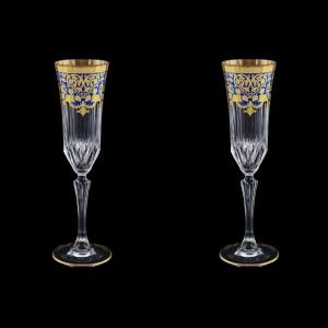 Adagio CFL F0023 Champagne Flutes 180ml 2pcs in Natalia Golden Blue Decor (F0023-0410=2)