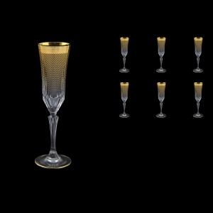 Adagio CFL F0050 Champagne Flutes 180ml 6pcs in Rio Golden Crystal Decor (F0050-0410)