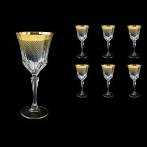 Adagio C2 F0050 Wine Glasses 280ml 6pcs in Rio Golden Crystal Decor (F0050-0412)