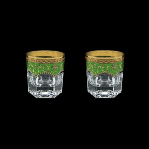 Provenza B2 PEGG Whisky Glasses 280ml 2pcs in Flora´s Empire Golden Green Decor (24-527/2)