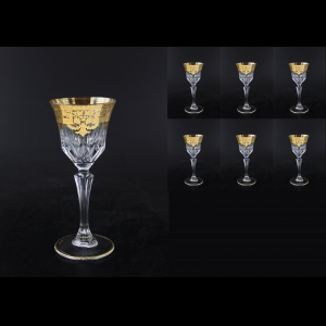 Adagio C3 F0020 Wine Glasses 220ml 6pcs in Natalia Golden Crystal Decor (F0020-0413-L)