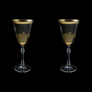 Parus C2 F0070 Wine Glasses 250ml, 2 pcs in Rocco Golden Embossed Decor (F0070-2512-L=2)