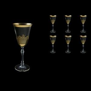 Parus C2 F0070 Wine Glasses 250ml, 6 pcs in Rocco Golden Embossed Decor (F0070-2512/L)
