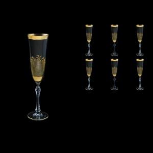 Parus CFL F0070 Champagne Flute 190ml, 6 pcs in Rocco Golden Embossed Decor (F0070-2510-L)