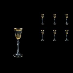 Parus C5 F0070 Liqueur Glasses 60ml, 6 pcs in Rocco Golden Embossed Decor (F0070-2515-L)