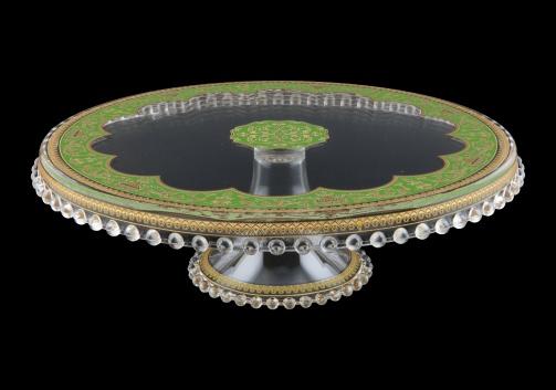 Zefyros CPY ZEGG Cake Plate Down d32cm, 1pc in Flora´s Empire Golden Green L. (24-5E71/L)