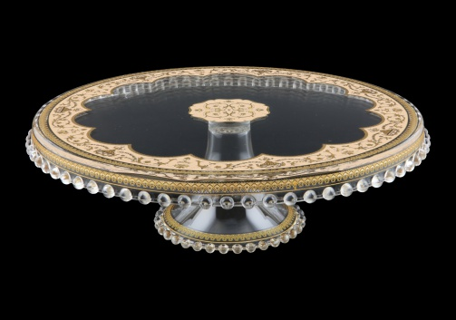 Zefyros CPY ZEGI Cake Plate Down d32cm, 1pc in Flora´s Empire Golden Ivory L. (25-5E71/L)