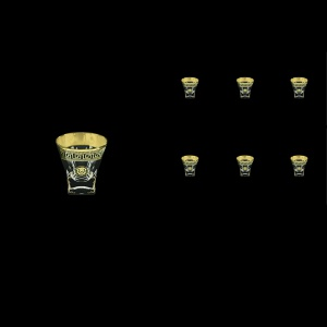 Fusion B5 FLGB H Liqueur Tumblers 65ml 6pcs in Antique&Leo Golden Black Decor+H (42-396/H)