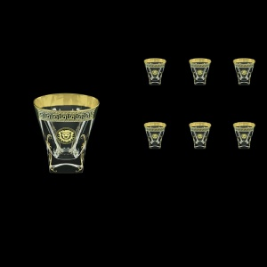 Fusion B2 FLGB H Whisky Glasses 270ml 6pcs in Antique&Leo Golden Black Decor+H (42-397/H)