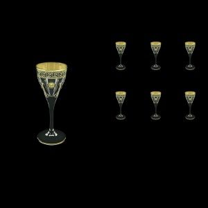 Fusion C5 FLGB H Liqueur Glasses 70ml 6pcs in Antique&Leo Golden Black Decor+H (42-430/H)