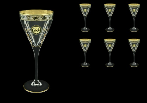Fusion C2 FLGB H Wine Glasses 250ml 6pcs in Antique&Leo Golden Black Decor+H (42-432/H)