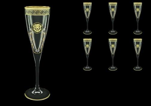 Fusion CFL FLGB H Champagne Flutes 170ml 6pcs in Antique&Leo Golden Black D.+H (42-434/H)