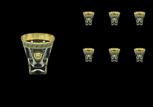 Fusion B3 FLGB H Whisky Glasses 200ml 6pcs in Antique&Leo Golden Black Decor+H (42-437/H)