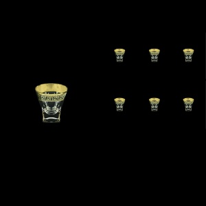 Fusion B5 FAGB H b Liqueur Tumblers 65ml 6pcs in Antique Golden Black Decor+H (57-396/H/b)