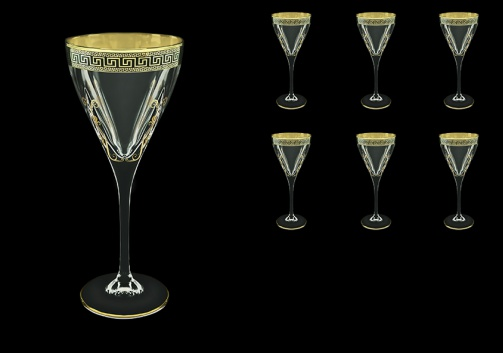 Fusion C2 FAGB H b Wine Glasses 250ml 6pcs in Antique Golden Black Decor+H (57-432/H/b)