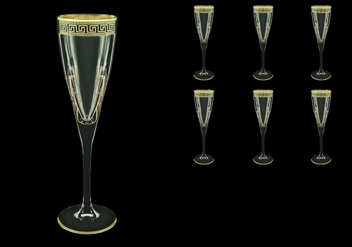 Fusion CFL FAGB H b Champagne Flutes 170ml 6pcs in Antique Golden Black D.+H (57-434/H/b)