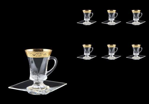 Quadro TS QNGL Tea Set 100ml 6pcs in Romance Golden Bright Decor (33-2180/6/BT)
