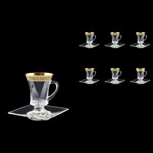 Quadro TS QMGB Tea Set 100ml 6pcs in Lilit Golden Black Decor (31-2180/6)